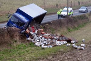 image: UK DVSA Police dangerous goods load security road haulage