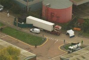 image: UK 39 bodies logistics Grays refrigerated trailer Northern Ireland driver arrested multiple murder