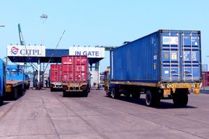image: India container handling terminal 20 foot TEU import cargo export freight Chennai haulage haulier logistics