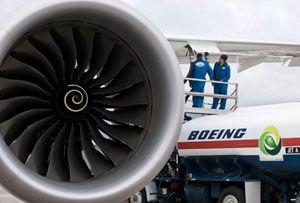 image: Boeing biofuel green diesel air freight