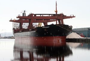 image: Scotland bulk carrier cargo ship road truck salt