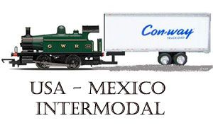 image: Mexico US Con-way multimodal rail freight intermodal road haulage trucking logistics
