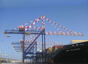 image: Ngqura South Africa container shipping handling freight ship to shore rubber tyred gantry cranes RTG STS Liebherr