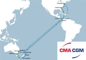 image: CMA CGM French container shipping line Oceania PAD 2 box