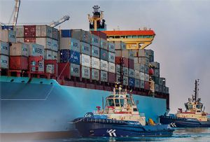 image: Abu Dhabi container freight shipping port COSCO MSC tonnage RoRo