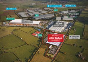image: DIRFT Daventry UK rail freight terminal multimodal road haulier logistics operator ports