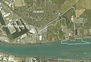 image: UK Port of Tilbury freight container logistics RoRo ferries Tilbury2 London Gateway River Thames crossing