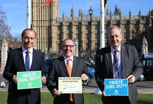 image: FairFuel UK road haulage freight transport Chancellor Osborne Budget fuel duty cut freeze SNP