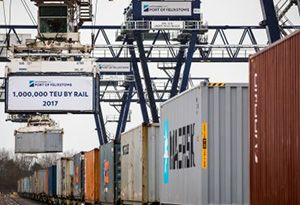 image: UK Port of Felixstowe rail freight container cargo multimodal road haulage Hutchison