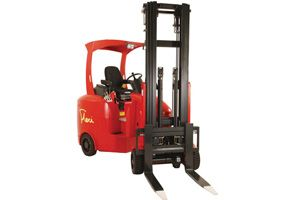image: UK 3PL freight forwarder articulated fork lift truck aisle flexi