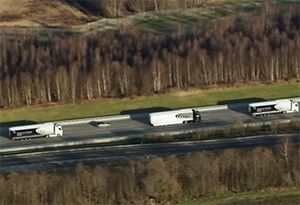 image: UK road haulage freight transport truck platooning trial