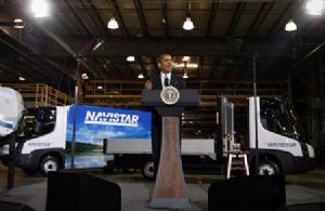 image: Modec, Navistar International Corporation, electric truck, green, Barack Obama, Elkhart County, Indiana, UK, USA, Coventry, Daniel C. Ustian, truck, lorry, van, Bill Gillespie