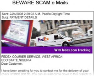 image: UK FedEx fraud scam express freight parcel air waybill carrier Customs Duty
