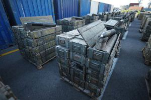 image: Iran smuggled arms shipping container freight sanctions box carrier scanning technology