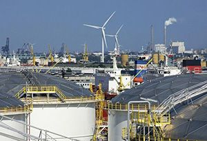 image: Netherlands port of Amsterdam wind farm commercial vessels