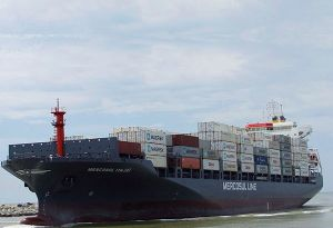 image: France Denmark South America freight fleet container shipping line Maersk CMA CGM Hamburg Sud