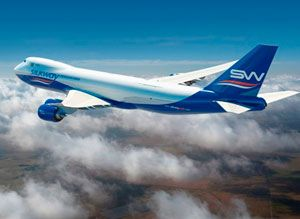 image: Silk Way air freight cargo carrier Azerbaijan Boeing 747-8F