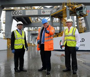 image: Boris Johnson freight logistics container shipping deep sea London Gateway DP World box lines