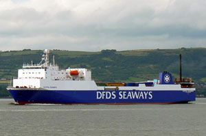 image: UK  RoRo fast ferry RoPax ship freight vessel trailer