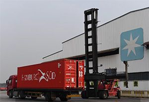 image: Denmark China Germany freight container shipping line Maersk Hamburg S�d boxes