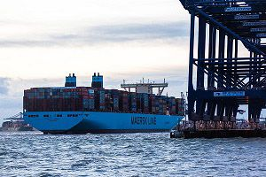 image: UK Maersk MSC container freight ship vessel Madrid China Malaysia ocean