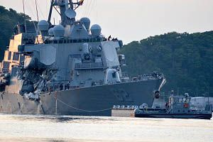 image: US Navy container ship NYK USS Fitzgerald collision