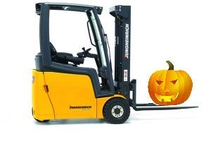 image: Halloween pumpkin harvest fork lift counterbalance hire David Bowman Jungheinrich