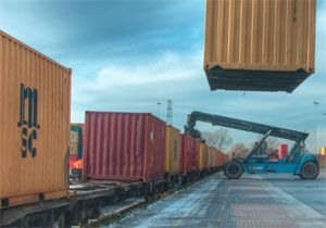 image: UK rail delivery group freight road haulage environment HGV containers