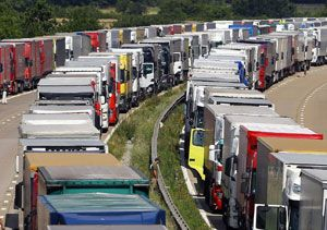 image: UK road haulage freight Operation Stack FTA truck lorry park