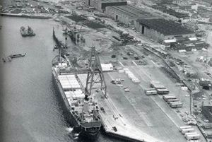 image: UK Felixstowe container port cargo freight terminal 50 years