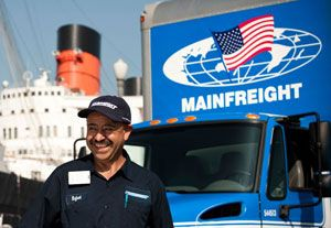 image: US ocean freight FTL LTL air logistics warehousing Mainfreight road haulage square feet New Zealand