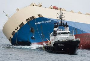 image: France Spain Modern Express cargo vessel ship car carrier timber