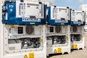 image: Pentalver UK reefer containers gensets ISO box transports stores repairs Felixstowe Carrier Transicold