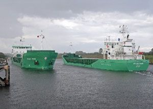 image: Irish multipurpose freight and container shipping vessels UK Ireland Sperry Northrup Grumman navigation marine