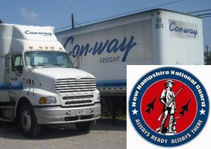 image: Con-way US less than truckload LTL road haulage freight operator creates jobs service centre National Guard reserve