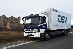 image: Sweden freight haulier biofuel hybrid truck Atego Mercedes-Benz DSV road haulage