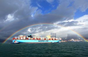 image: Maersk Triple E container shipping box carrier TEU vessel Yantian Shenzhen ship