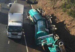 image: Australia truck driver bravery multi-vehicle collision Calder Freeway