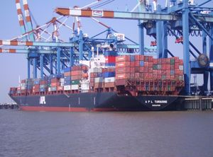 image: Singapore NOL APL container shipping freight rates fuel logistics supply chain