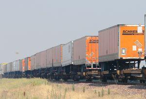 image: US Schneider BNSF CSX CN multi modal freight intermodal logistics trucking