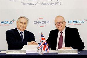 image: UK shipping line container logistics freight forwarding DP World London Gateway CMA CGM