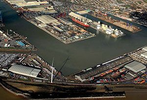 image: River Thames Port of Tilbury2 London Gateway containers RoRo Ferries bulk freight cars