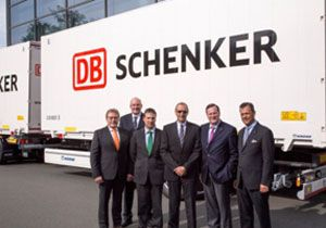 image: DB Schenker swap body trailer Krone freight forwarder logistics fleet intermodal
