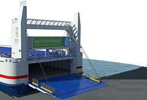 image: Sweden Denmark RoRo ferry shipping Stena electric vessel environmental batteries 1MWh