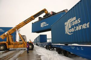 image: Russia container freight train cargo high speed logistics