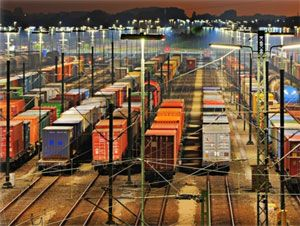 image: China Russia Poland rail freight intermodal container train RZD fast cargo PKP Trans-Siberia