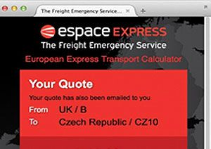 image: UK freight forwarding express van service Espace transport calculator