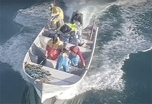 image: Mexico US China vaquita porpoise Sea Shepherd skiff aerial drone totoaba bass Marines Federal Police
