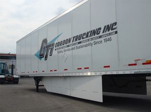 image: US freight fuel truck trailer air dam side skirt diesel