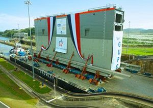 image: Panama Canal Crowley freight shipping freight ocean shipping lock gate tonnes